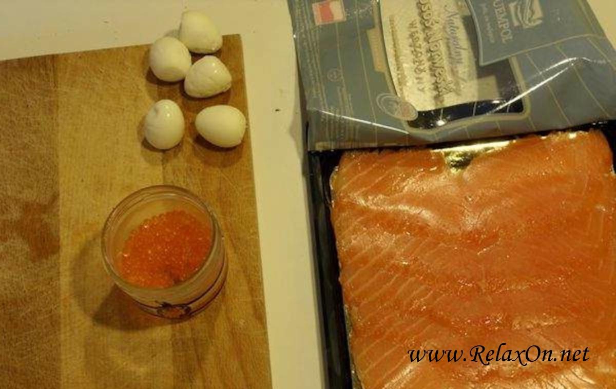 2-Перепелиные яйца с икрой и красной рыбой пошагово