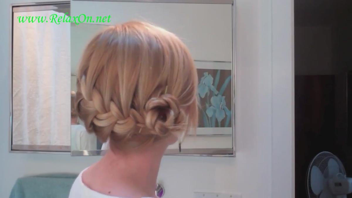 2- прически на длинные и средние волосы - Розочка из косы