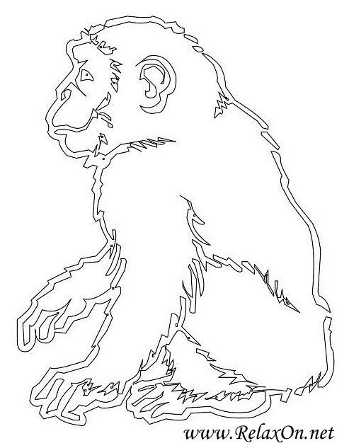 2-трафарет обезьяны на Новфй год