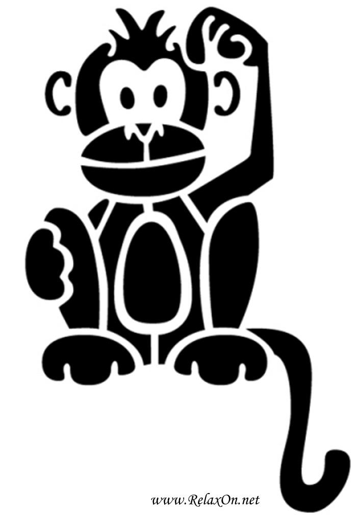 9-Трафарет обезьяны
