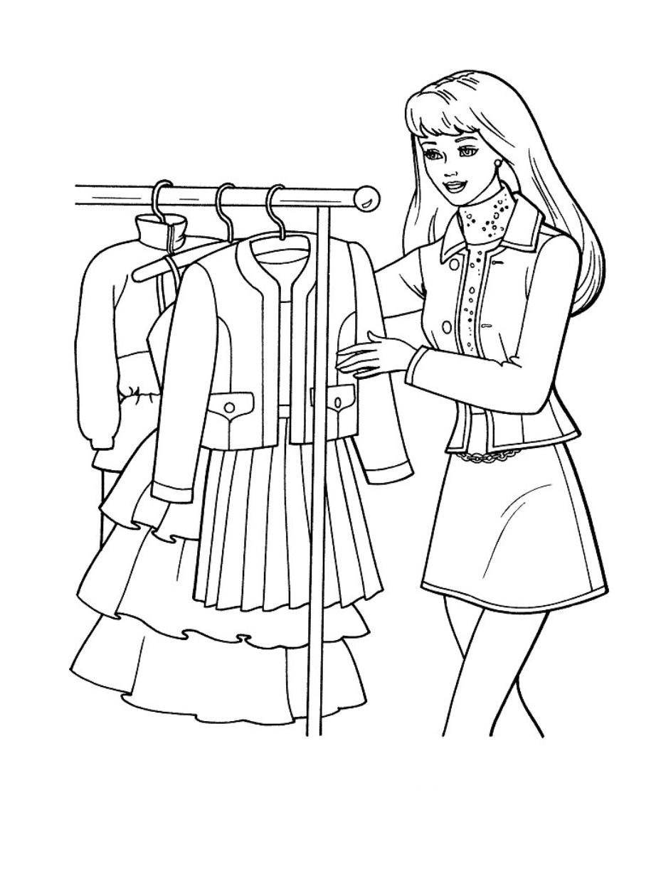 Раскраска девочка в одежде