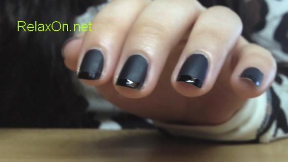 Дизайн ногтей черный френч