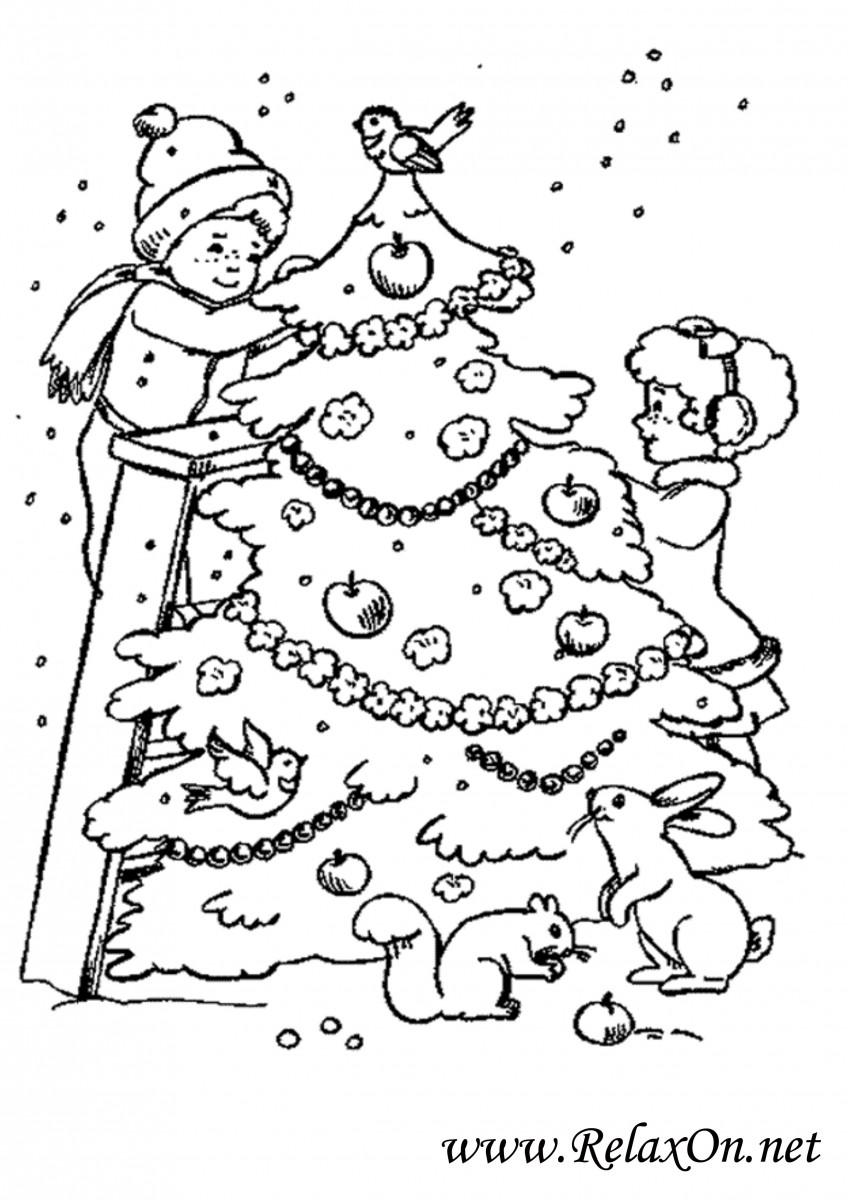 Картинки раскраски у новогодней елки