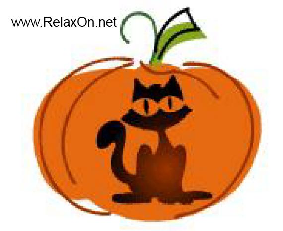 Трафарет на Хэллоуин черный кот