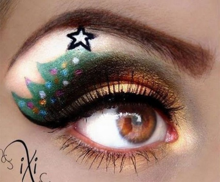 новогодний макияж светло карие глаза